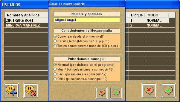 Gestion de usuarios en MECANOGRAFIA 10